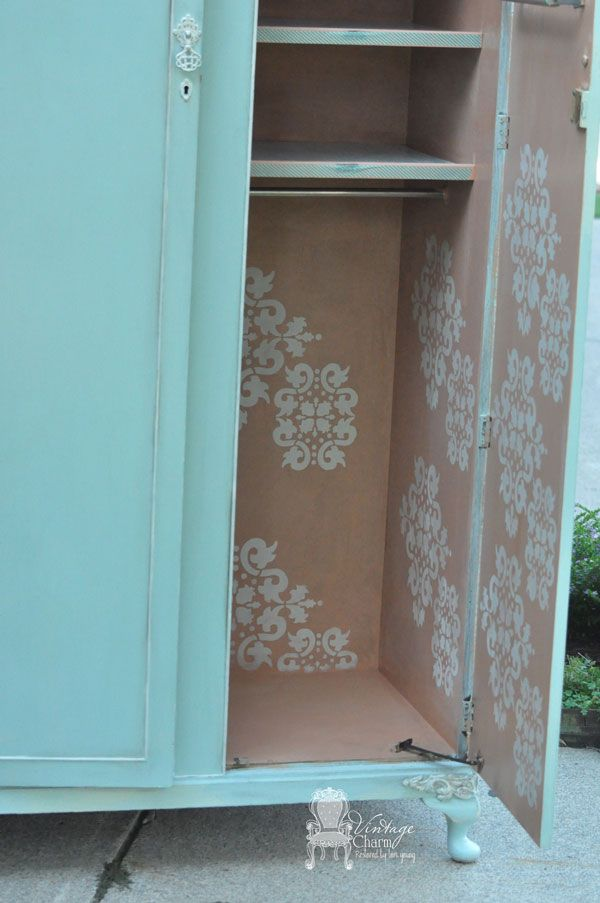 Wardrobe Makeover Stenciled inside