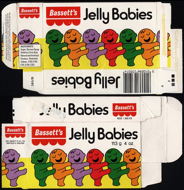 UK - Bassett's - Jelly Babies candy box - 1970's to early 1980's by JasonLiebig, via Flickr