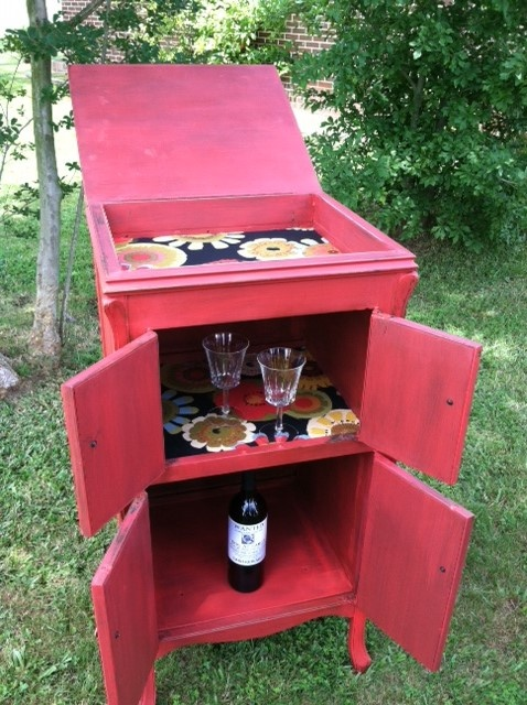 Red Victrola Cabinet made into Wine Cabinet