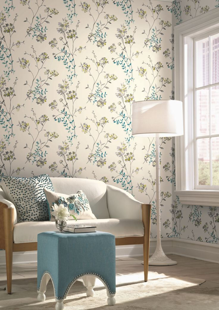 Pretty floral wallpaper design, inspired by watercolours. From the Watercolours collection by Carey Lind Designs, WT4532 by York Wallcoverings. Available in New Zealand through Guthrie Bowron stores.