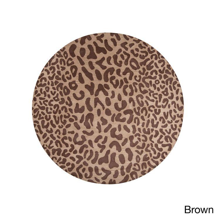 Hand-tufted Jungle Animal Print Round Area Rug