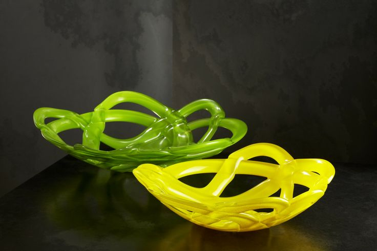 Basket Green and Yellow, design by Anna Ehrner for Kosta Boda