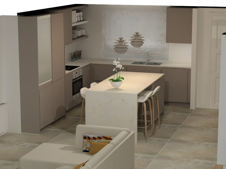 Cocina abierta con isla mesa comedor cocina pinterest - Isla de cocina con mesa ...