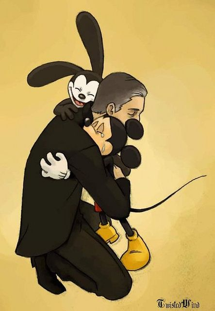 Walt with Oswald and Mickey.  CUTE!!!
