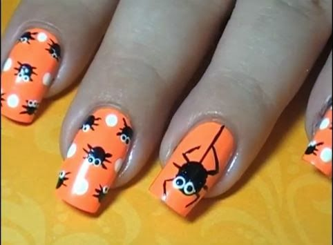 Halloween Easy Nail Art Video Tutorials 2 fashiontrendstyle.blogspot.com