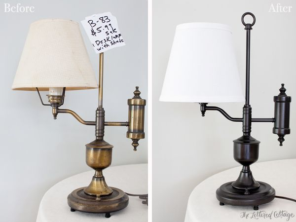 Old Brass Lamp Makeover | The Lettered Cottage