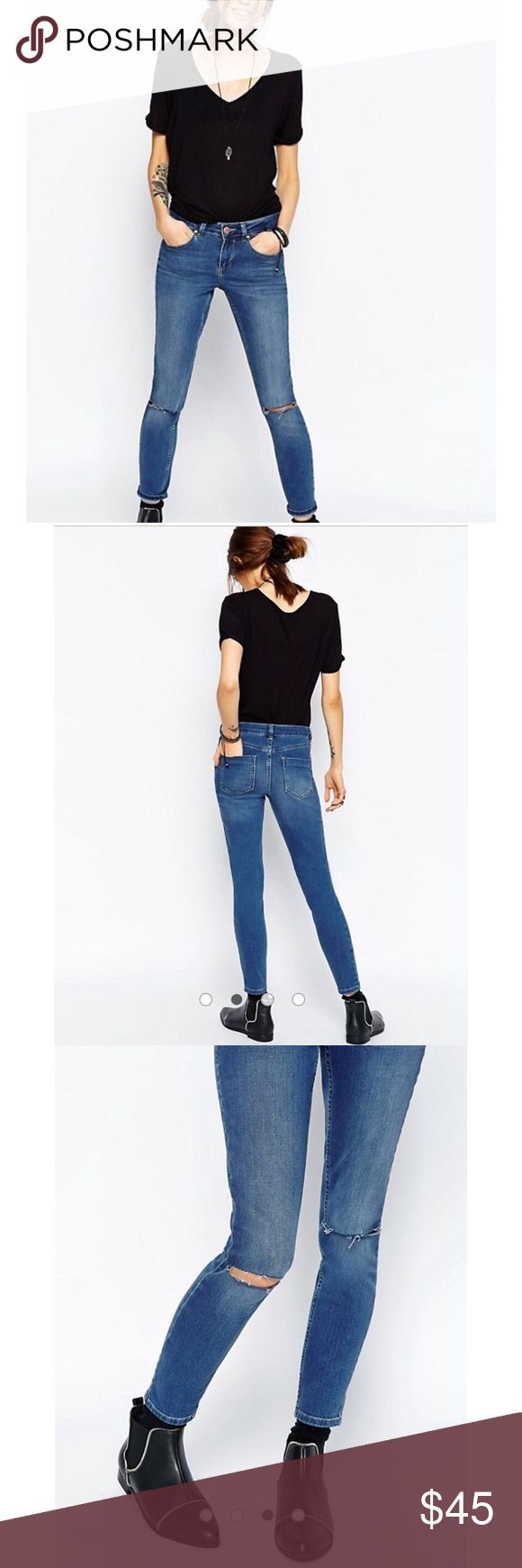 ASOS skinny ankle grazer Jean with knee rip ASOS Lisbon skinny midrise ankle grazer Jean with knee rip ASOS Jeans Ankle & Cropped