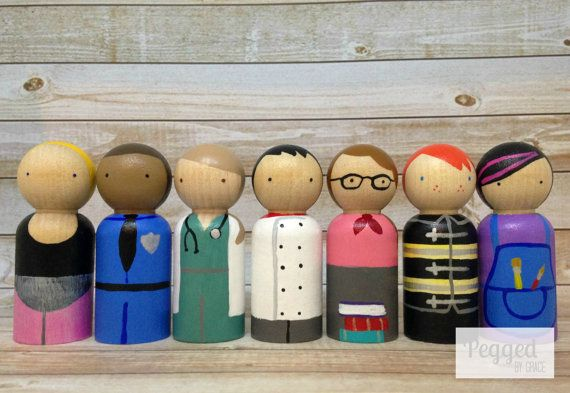 What did you want to be when you grew up? A ballerina, a doctor, a cowboy? What do your children like to pretend to be? Let them explore all their possible futures with this sweet peg doll set, which includes a dancer, police officer, doctor, chef, librarian/teacher, fireman, and artist.  Each doll is 2 1/2 inches, handpainted and sealed with non-toxic products and sturdy enough for the hardiest of playtimes. They are not intended for children under 3 years old.