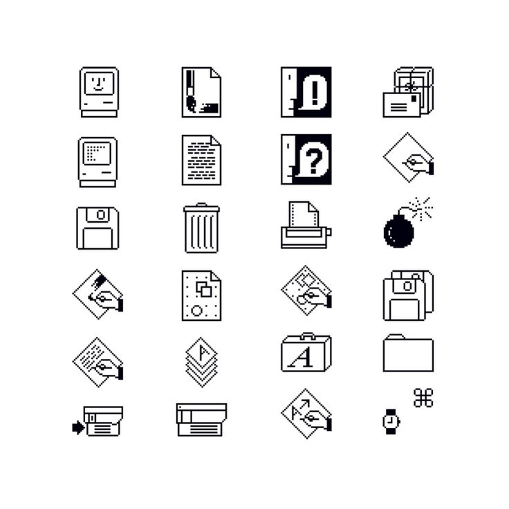 "Susan Kare, Macintosh Icons, 1984. Apple Computer Inc. USA ""Kare's trash can, folders, smiley Mac, command button symbol and other icons are reduced to just a few pixels (32 x 32) yet they remain..."