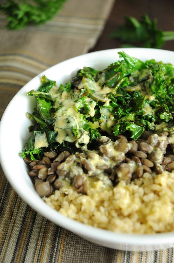 quinoa lentil bowl (probably use soy sauce instead of tamari or nutritional yeast)