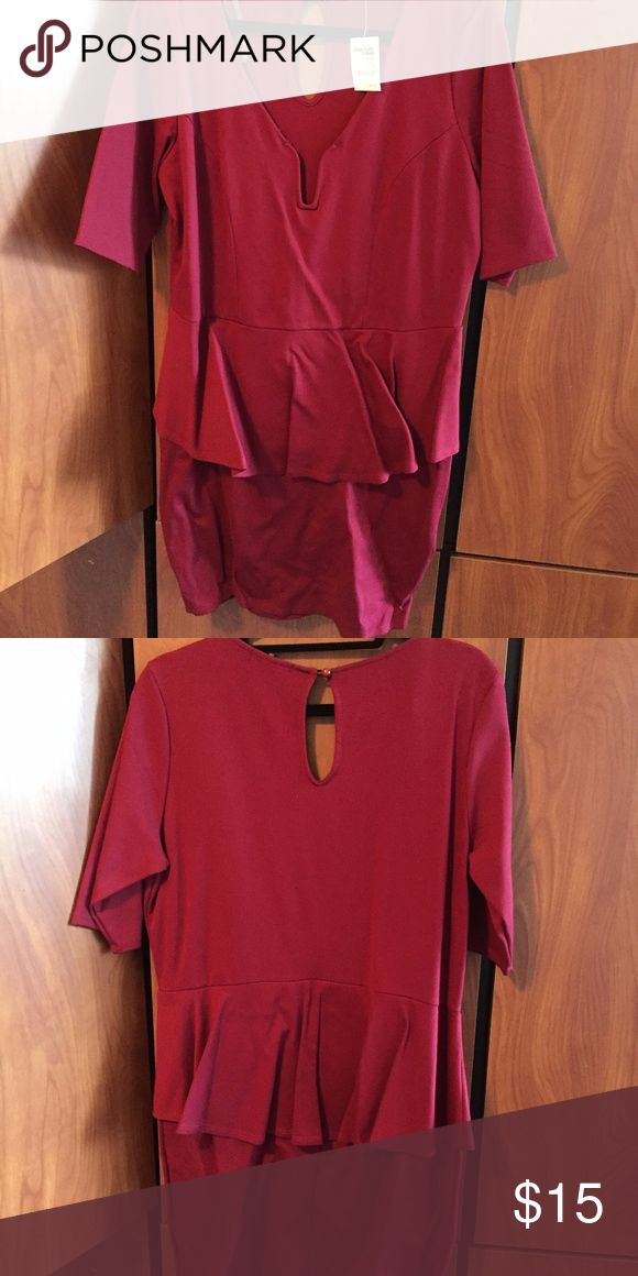 Red peplum dress NWT Red peplum dress from Charlotte Russe NWT Charlotte Russe Dresses Midi