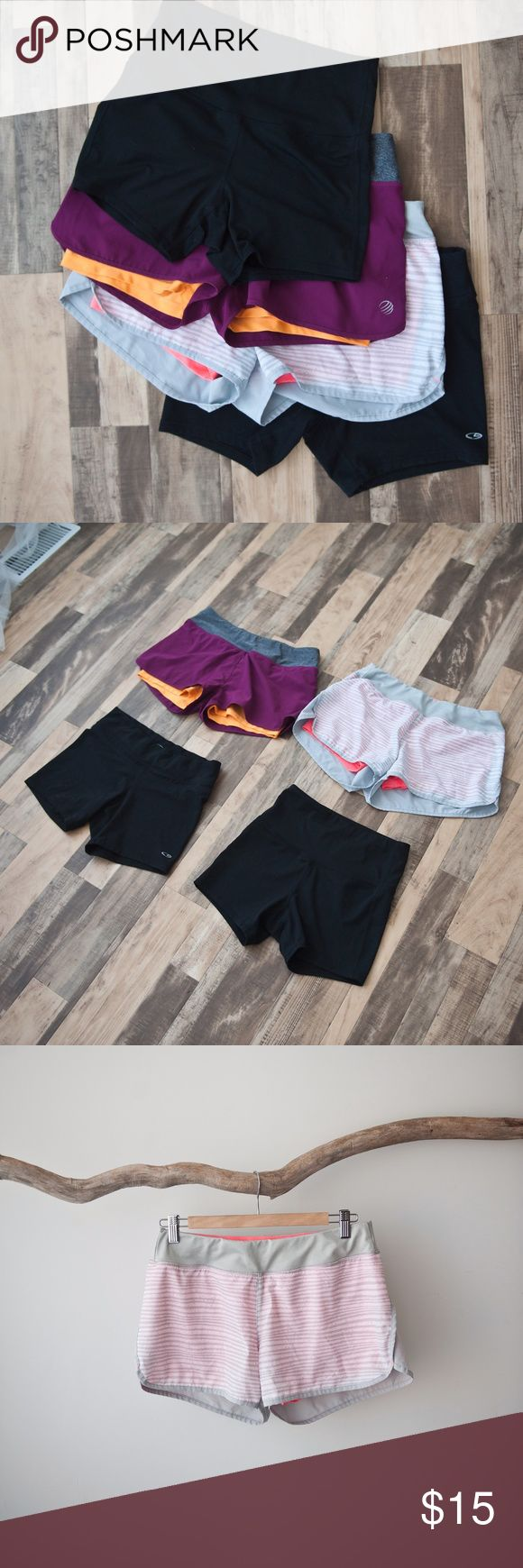 """Women's Athletic Running Shorts Lot of 4 - Light gray shorts Size Medium      *Hip to hip approx 14""""      *Rise approx 9 1/2""""      *Inseam approx 3""""  - Dark Purple Shorts Medium      *Hip to hip approx 14 1/4""""      *Rise approx 9 1/4""""      *Inseam approx 2""""  - Wide Band Spandex Shorts Large      *Hip to hip approx 12""""      *Rise approx 10""""      *Inseam approx 4 1/2""""  - Narrow Band Spandex Shorts Large      *Hip to hip approx 14""""      *Rise approx 8"""" Champion Shorts"""