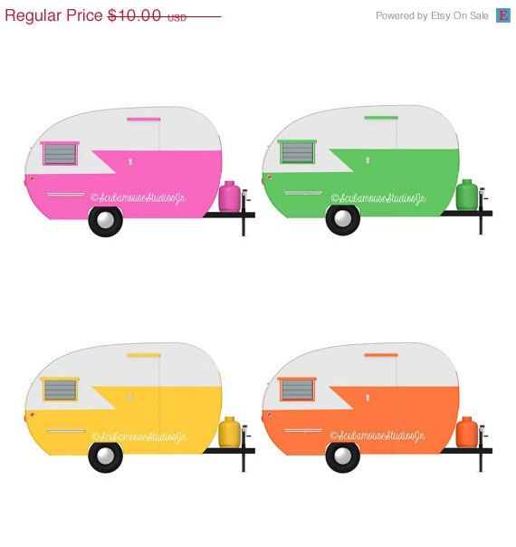 Mini Camper Clipart Retro Clip Art Vintage Travel Trailers Commercial Use Digital Scrapbooking