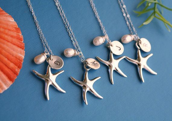 Set of 4,Beach theme wedding,Bridesmaid gifts,Starfish Necklace,Initial Necklace,Wire wrapped Pearl,Wedding Jewelry Gifts,Bridal party Favo. $145.00, via Etsy.