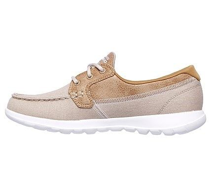 Skechers Women's GOwalk Lite Coral Boat Shoes (Natural/White)
