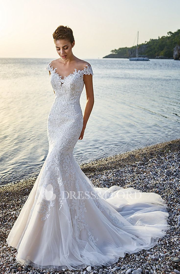 exquisite V-neck Cap-sleeve Mermaid Tulle Wedding Gown With Court Train – Dress …
