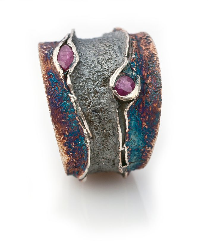 Ring | Elisenda De Haro. 'Reef'. Oxidized silver and rubies.