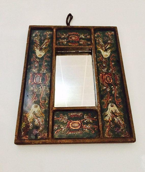 Peruvian Reverse Painted Handmade Mirror Wooden by Vintage0156