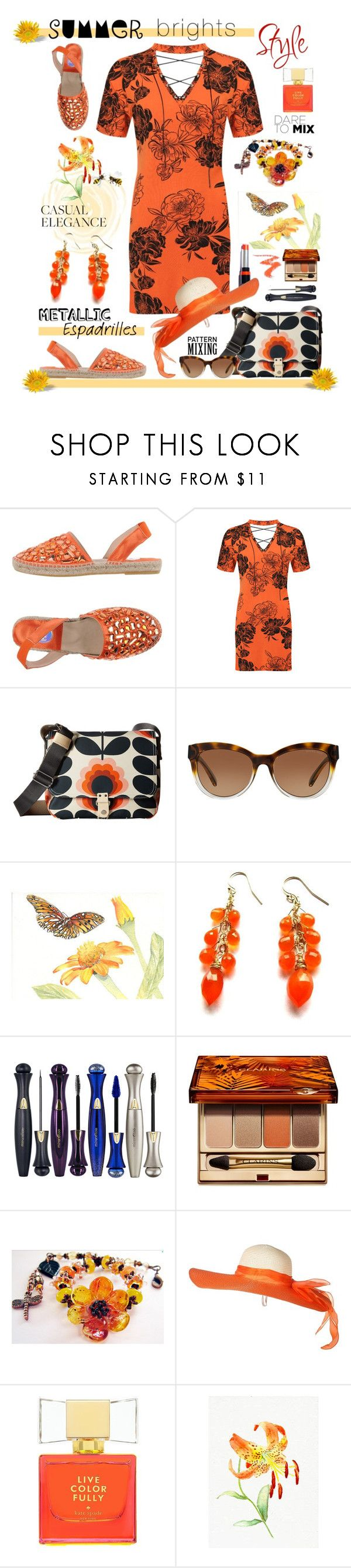 """""""Step Into Summer: Metallic Espadrilles"""" by belladonnasjoy ❤ liked on Polyvore featuring RAS, WearAll, Orla Kiely, Michael Kors, Mirenésse, Clarins and Kate Spade"""
