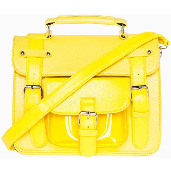 Neon Three Strap Satchel (€24) ❤ liked on Polyvore featuring bags, handbags, accessories, yellow, purses, clear satchel, neon handbags, clear bags, neon satchel and yellow handbag