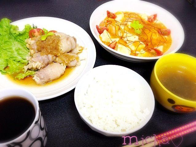 エビチリわ、かさ増しに 豆腐入れてみました꒰。•ॢ◡-ॢ。꒱♡ - 7件のもぐもぐ - 豚えのきポン酢♡エビチリ豆腐♡わかめスープ♡ by micha19891214