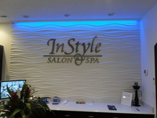 Interior Sign - InStyle Salon & Spa, New Ulm MN.  The back wall is lit with color changing LED's & changes color!