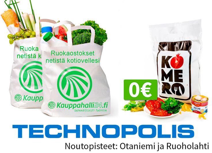 Tilaa nyt ruokaostoksesi Technopoliksen noutopisteeseen ja klikkaa ilmainen Komeropussin kaupan päälle!  Technopolis on mukana tukemassa työhyvinvointia ja arjessa jaksamista. Otaniemeen ja Ruoholahteen on avattu Kauppahalli24:n noutopisteet, joista tilatut ruokaostokset on näppärä napata mukaan töistä lähtiessä.  Technopoliksen noutopisteet sijaitsevat Otaniemen ja Ruoholahden pääovien edessä ja palvelevat Technopoliksessa työskentelevien lisäksi muitakin alueen asiakkaita.