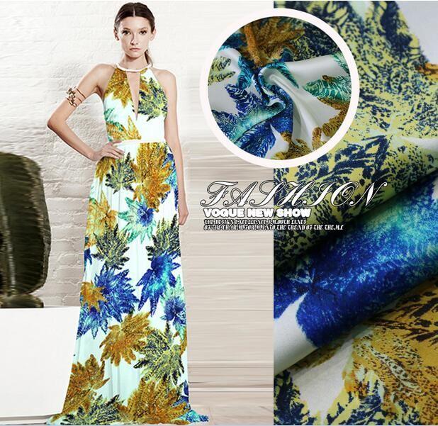 The European high-end stretch silk maple leaf yellow blue skirt dress printing material
