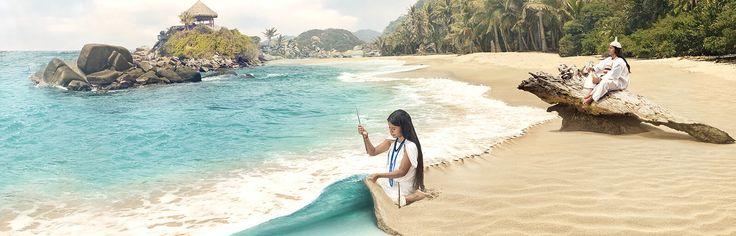 A un costado las olas azotan las rocas volcánicas que se alinean junto a la playa; al girar la cabeza hacia el otro lado la vista parece encontrar un espejismo, pues da la impresión de que un pedazo de la selva del Amazonas se hubiera levantado en medio del Caribe. Esta, la de Cañaveral, es una de varias playas del Parque Nacional Natural Tayrona, una reserva natural de Colombia que tiene 12.000 ha.