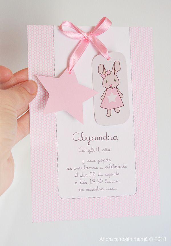 Ideas para celebrar el primer cumpleaños de tu hijo/a.  Tarjeta invitación primer cumpleaños.