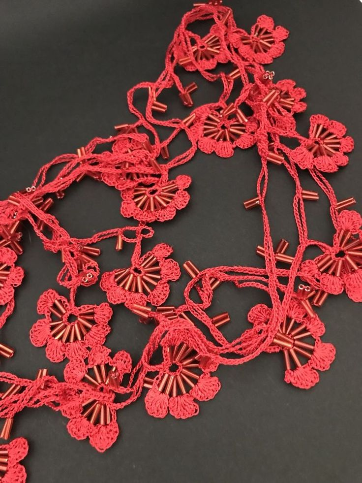 Red oya necklace, crochet lariat, designer necklace, textile necklace, vintage,    eBay