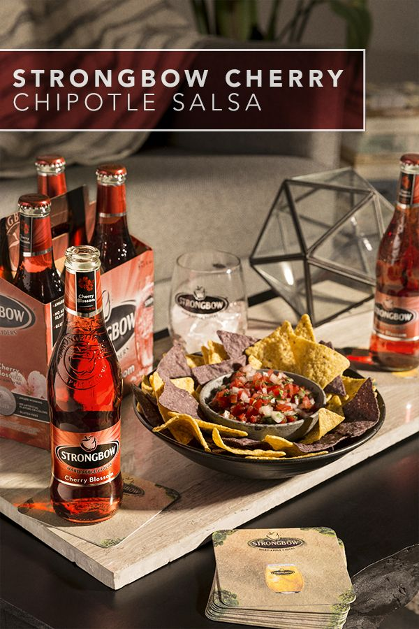 Try this easy & delicious cherry chipotle salsa made with Strongbow Cherry Blossom Hard Cider. Be sure to include some fresh cilantro and colored tortilla chips to make a simple vegan & dairy-free appetizer your guests won't be able to resist. This recipe is perfect for any dinner party, after-work meet-up and small soiree. Best served with chilled bottles of Strongbow Cherry Blossom.