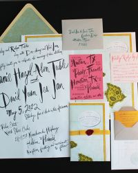 Oversize Map love letter themed Destination Wedding Invitations