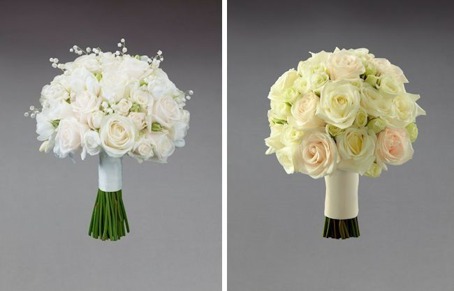 Vera Wang for Interflora - Autumn 2014 Floral Trends Revealed; Cream rose and freesia bridesmaid bouquet and cream rose bridal bouquet