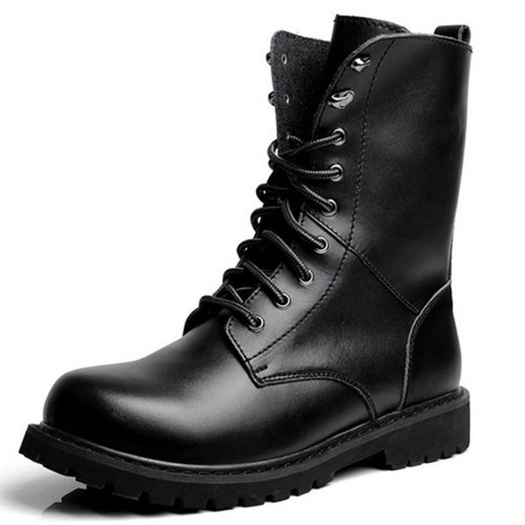 men high top classic black casual lace up mid calf work boots  men high top classic black casual lace up mid calf work boots  #men's shoes