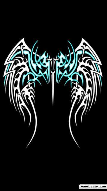 Tribal Tattoos Of Angel Wings Free 360x640 Wallpaper download ...