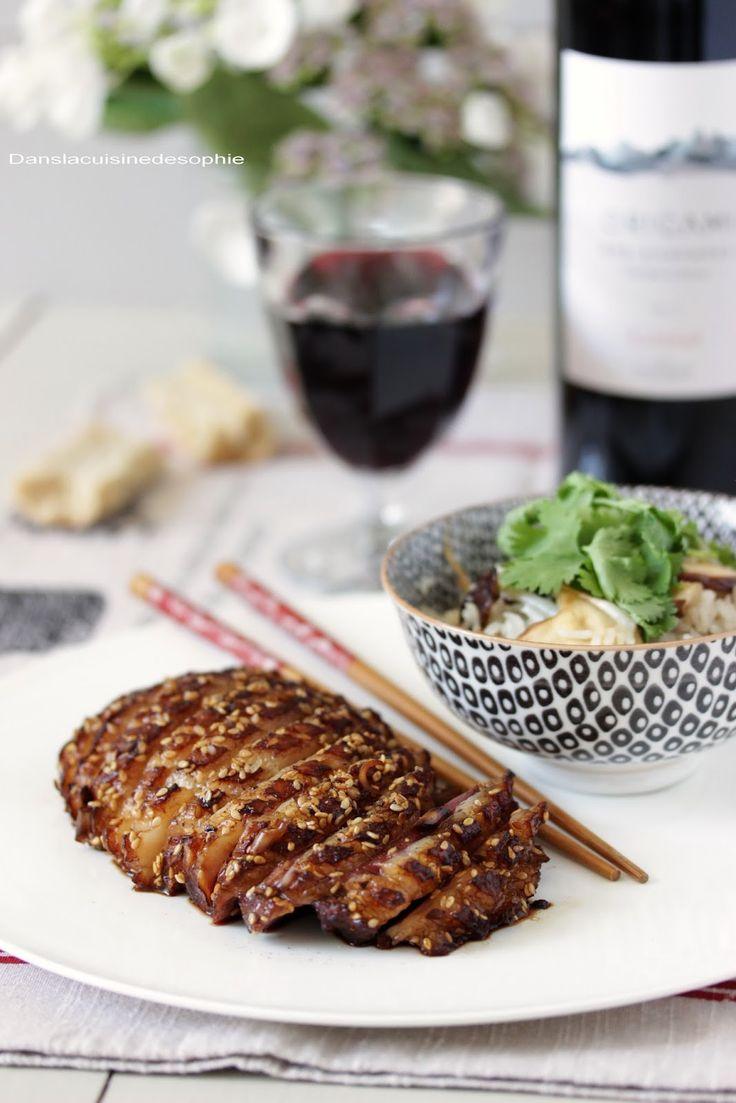 Canard teriyaki, champignons shiitake et ri à la coriandre / Dans la cuisine de Sophie