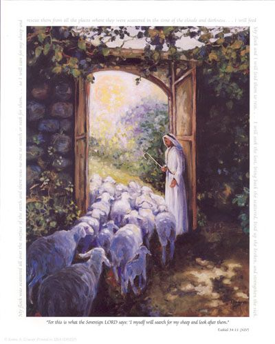 Image result for jesus and sheep at the door