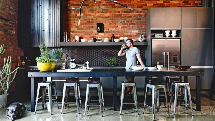 industrial-home-exposed-brick-polished-concrete-floors-kitchen