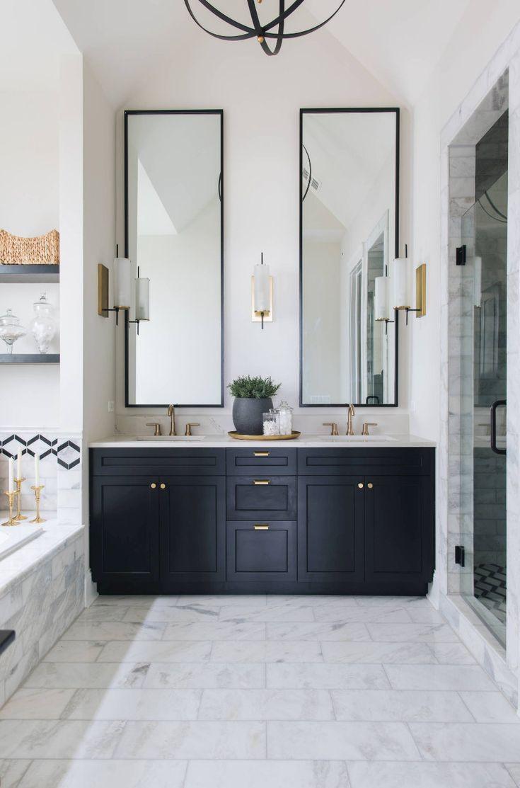 Tips For Using Dark Moody Paint Colors Bathroom Inspiration Modern Painted Vanity Bathroom Bathroom Interior Design