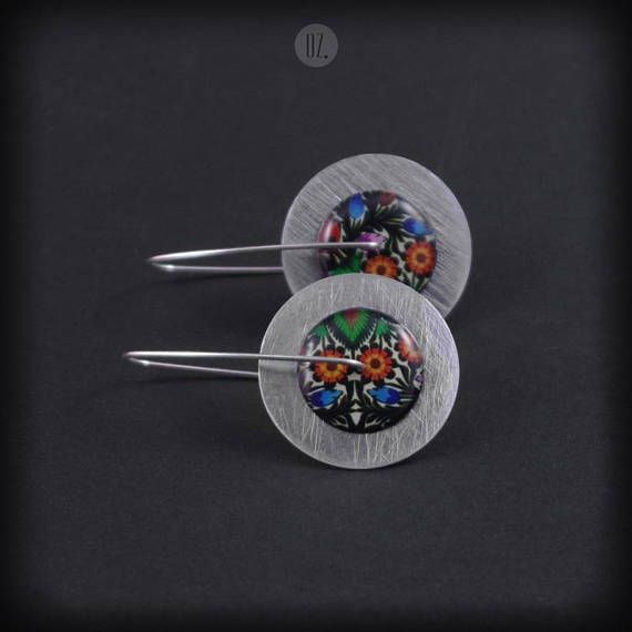 Long earrings Circles Colorfolk Midi M 100% handmade folk from
