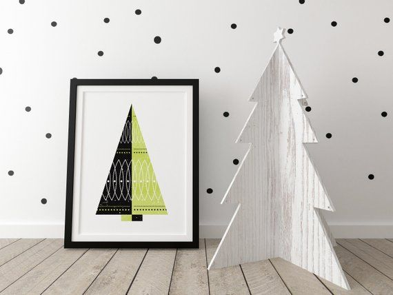 Retro Christmas Tree Print, Scandinavian tree wall decor No 6, Tree