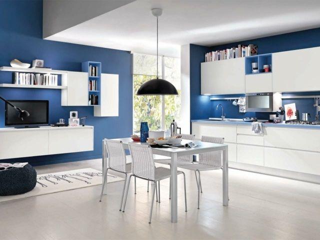 design de cuisine en blanc et bleu