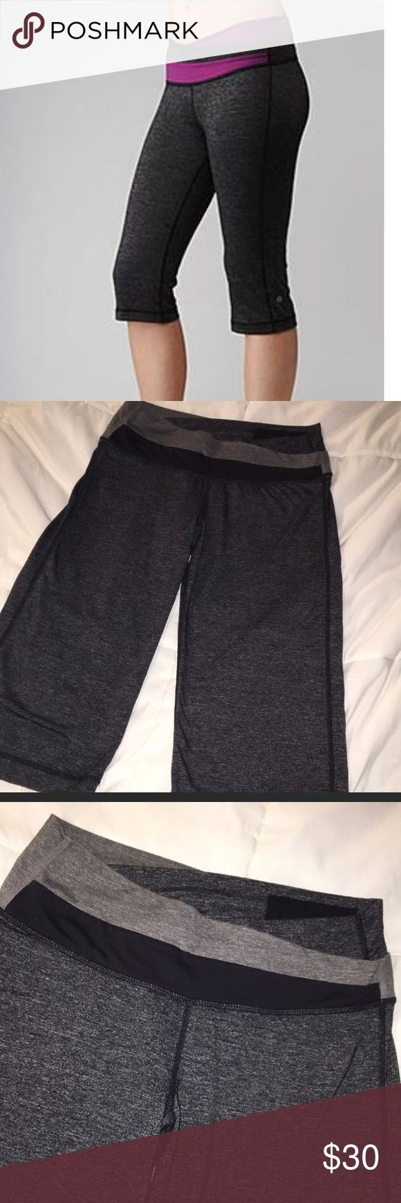 lululemon Astro Crop Heathered black, Astro style waist! There is some pilling between legs, see pics. Great crops tho- super soft and comfortable! z#0102 lululemon athletica Pants Ankle & Cropped
