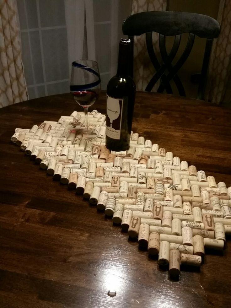 Wine cork table runner