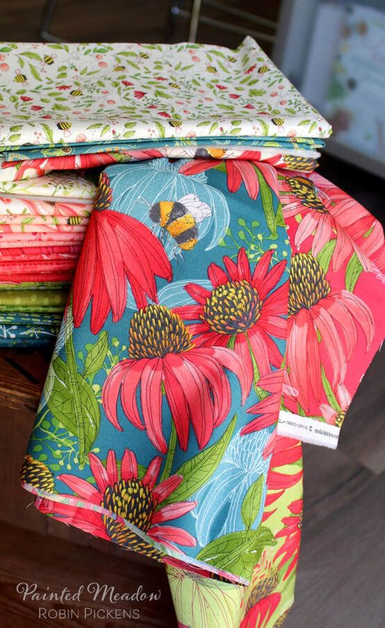 Robin Pickens Painted Meadow Fabrics For Moda Debut