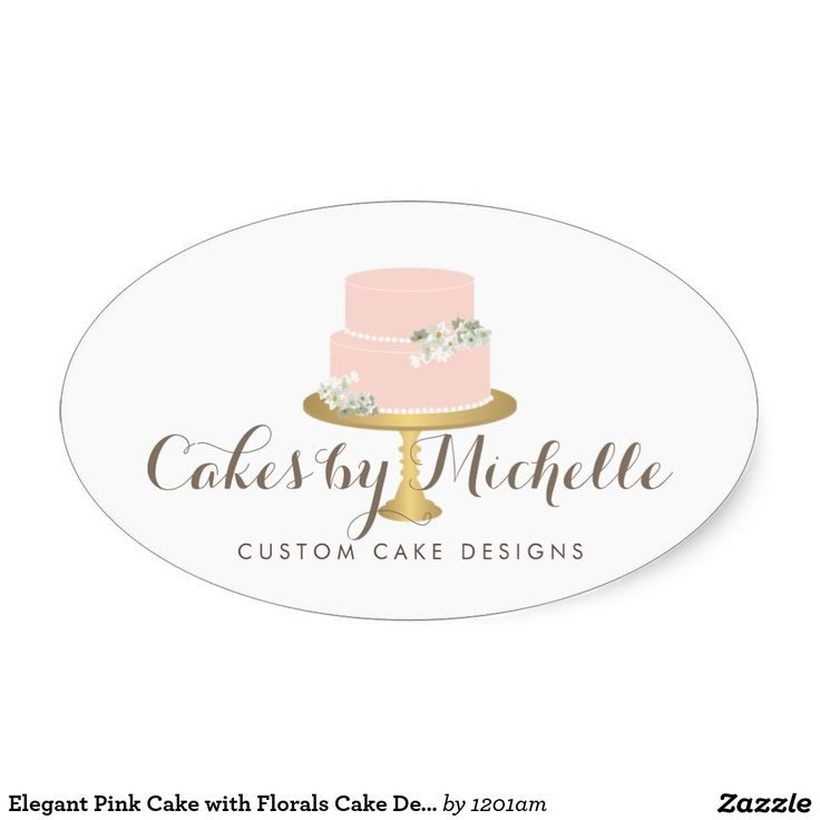 Elegant pink cake with florals cake decorating oval sticker
