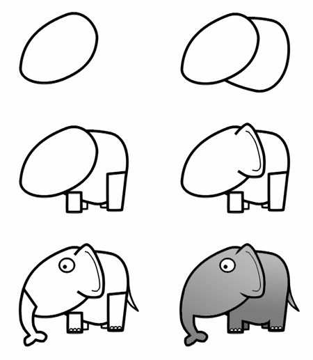 A cute cartoon elephant with a large head and funny ears is the subject of this drawing lesson.