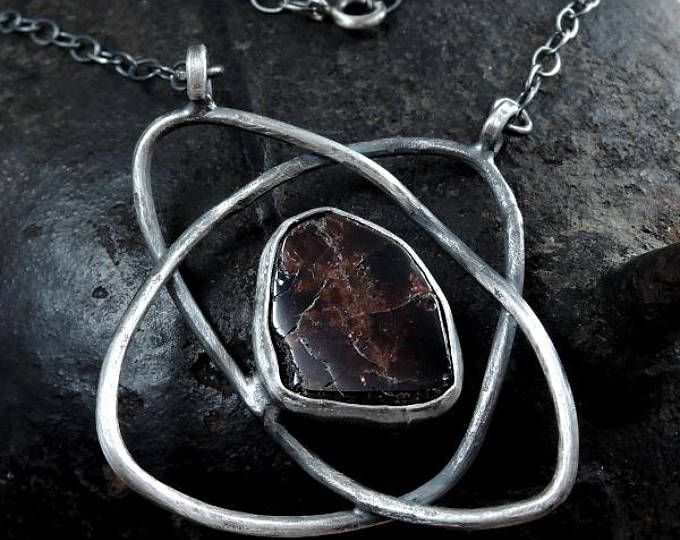 SALE 10 - 30%  OFF- use coupon code> Garnet necklace, silver necklace, garnet pendant, sterling silver, raw silver,rough,chain necklace
