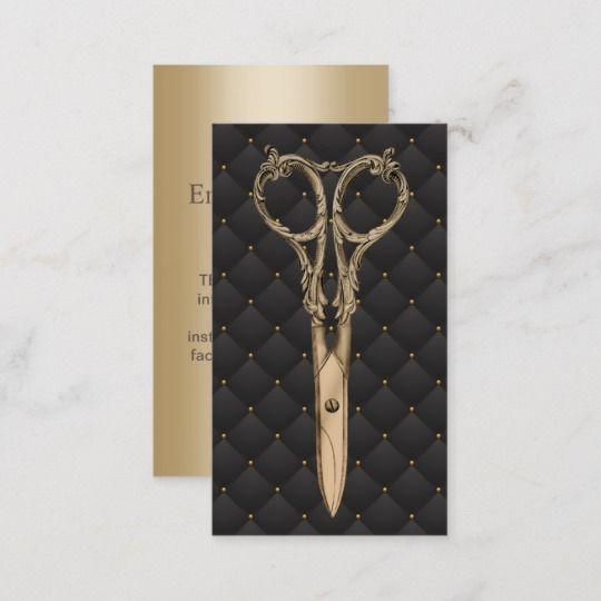 Hair Stylist Antique Gold Scissor Luxury Salon Business Card   Zazzle.com